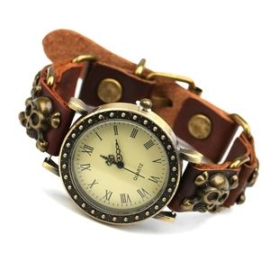 Punk Style Skull Leather Women Watch